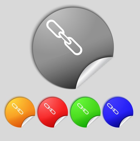 Link sign icon. Hyperlink chain symbol. Set colourful buttons.  illustration