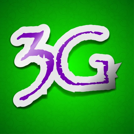 3g: 3G technology icon sign. Symbol chic colored sticky label on green background.  illustration Stock Photo