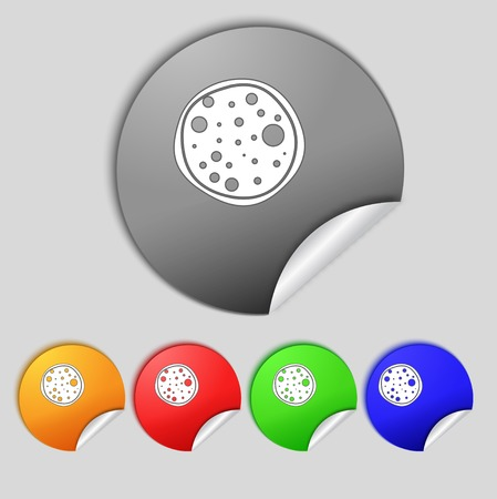 Pizza Icon. Set colourful buttons sign.  illustration illustration
