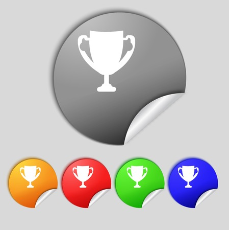 awarding: Winner cup sign icon. Awarding of winners symbol. Trophy. Set colourful buttons  illustration Stock Photo