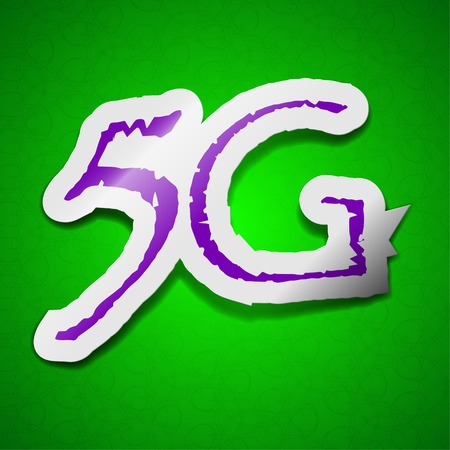 5g: 5G technology icon sign. Symbol chic colored sticky label on green background.  illustration Stock Photo