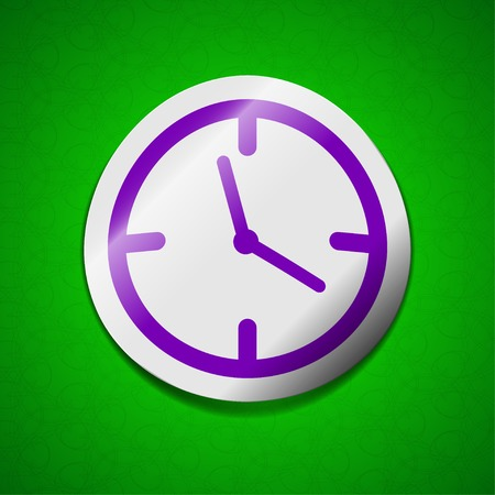 wake up call: Alarm clock icon sign. Symbol chic colored sticky label on green background.  illustration Stock Photo