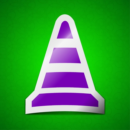 road cone icon sign. Symbol chic colored sticky label on green background.  illustration