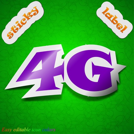 4g: 4G technology icon sign. Symbol chic colored sticky label on green background. Vector illustration Illustration