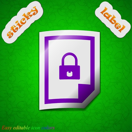 locked icon: file locked icon sign. Symbol chic colored sticky label on green background. Vector illustration Illustration