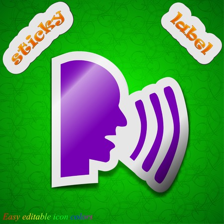 sideview: Talking icon sign. Symbol chic colored sticky label on green background. Vector illustration