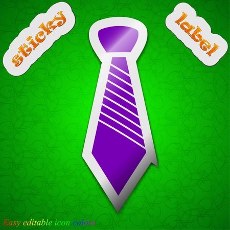 official wear: Tie icon sign. Symbol chic colored sticky label on green background. Vector illustration Illustration