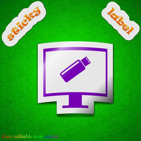 quality controller: usb flash drive and monitor icon sign. Symbol chic colored sticky label on green background. Vector illustration