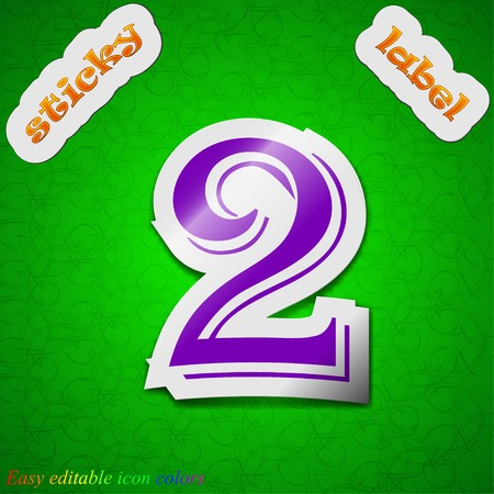 number two icon sign. Symbol chic colored sticky label on green background. Vector illustration Vector