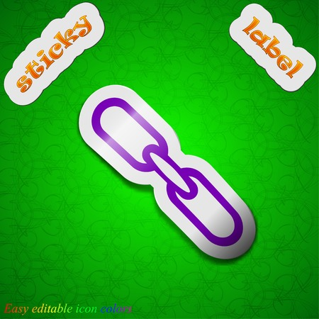 appendix: Link icon sign. Symbol chic colored sticky label on green background. Vector illustration