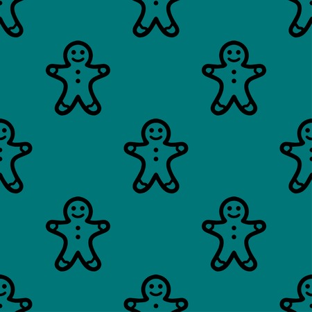 gingerbreadman: Gingerbread web icon. flat design. Seamless gray pattern. Vector EPS10