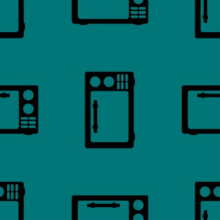 microwave. kitchen equipment web icon flat design. Seamless gray pattern. Vector EPS10 Vector