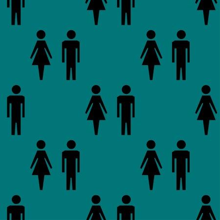 mannen en vrouwen: suluet mannen, vrouwen web pictogram plat ontwerp. Naadloos grijs patroon. Vector EPS10