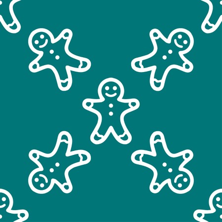 gingerbreadman: Gingerbread web icon. flat design. Seamless gray pattern. Vector EPS10