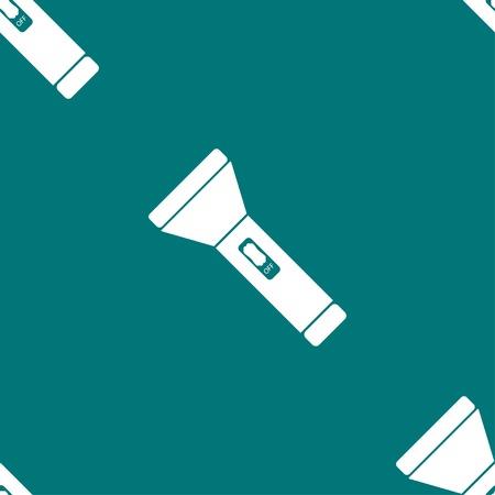 small tools: Flashlight web icon. flat design. Seamless gray pattern. Vector EPS10
