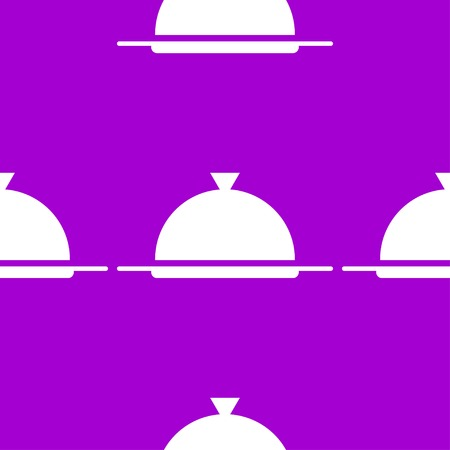 Restaurant cloche web icon. flat design. Seamless gray pattern.  Vector EPS10 Illustration