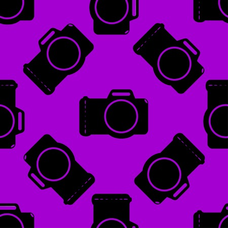 Photo camera web icon flat design. Seamless gray pattern. Vector EPS10 Vector