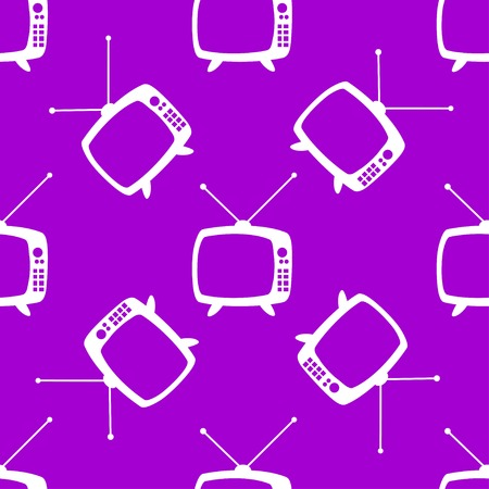Retro tv web icon. flat design. Seamless gray pattern. Vector EPS10