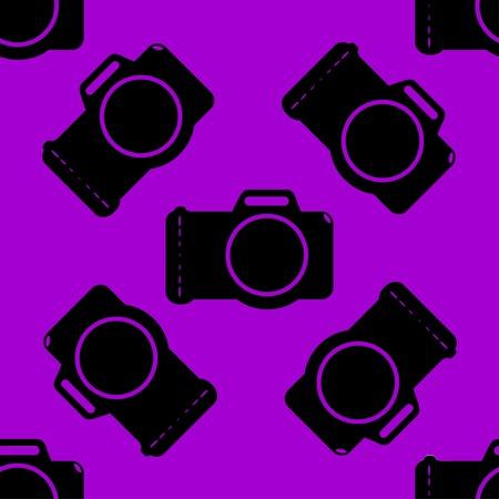 Photo camera web icon flat design. Seamless gray pattern. Vector EPS10