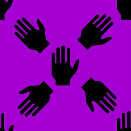 restricted area sign: hand web icon. flat design. Seamless pattern. Vector EPS10