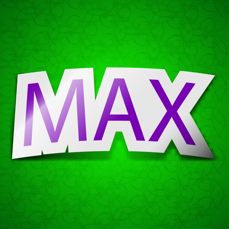 maximum icon sign. Symbol chic colored sticky label on green background. Vector illustration