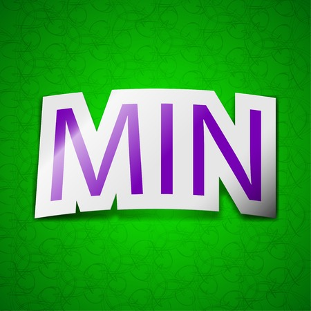 minimální: minimum ikonu znaménko. Symbol elegantní barevné lepící štítek na zeleném pozadí. Vektorové ilustrace