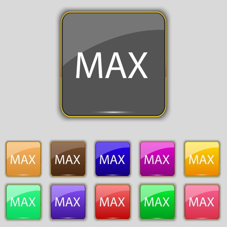 maximum: maximum sign icon. Set of colored buttons. Vector illustration Illustration