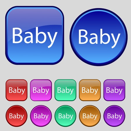 Baby on board sign icon. Infant in car caution symbol. Baby pacifier nipple. Set of colored buttons. Vector illustration Vector