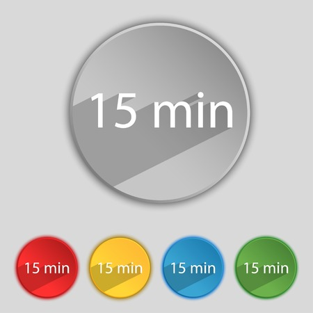 15: 15 minutes sign icon. Set of colored buttons. Vector illustration