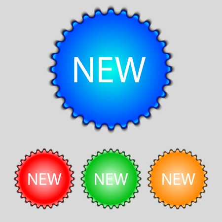 New sign icon. arrival button symbol. Set of colored buttons. Vector illustration