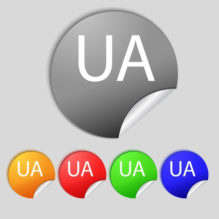 slavonic: Ukraine sign icon. symbol. UA navigation. Set of colored buttons Vector illustration