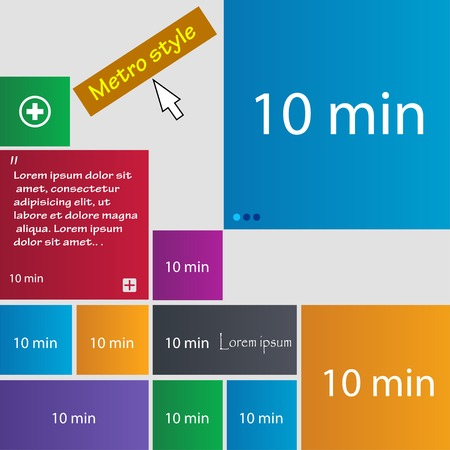 minutes: 10 minutes sign icon. Set of colored buttons. Vector illustration
