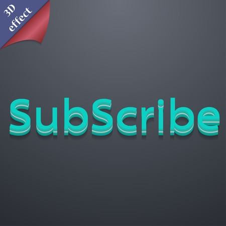 subscribing: Subscribe icon symbol. 3D style. Trendy, modern design with space for your text Vector illustration