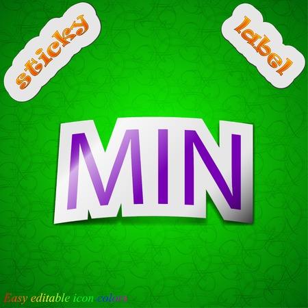minimum icon sign. Symbol chic colored sticky label on green background. Vector illustration Иллюстрация