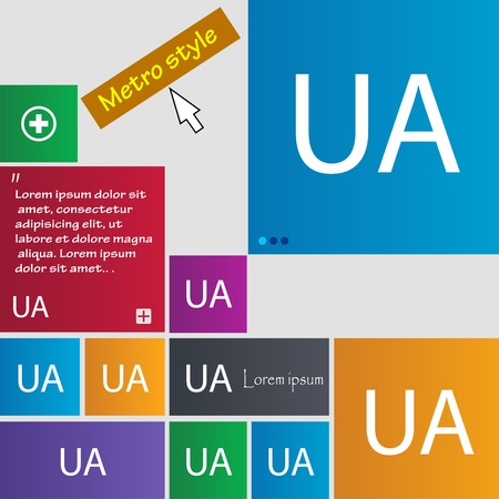 sized: Ukraine sign icon. symbol. UA navigation. Set of colored buttons Vector illustration