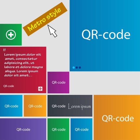 qrcode: Qr code sign icon. Scan code symbol. Set of colored buttons. Vector illustration