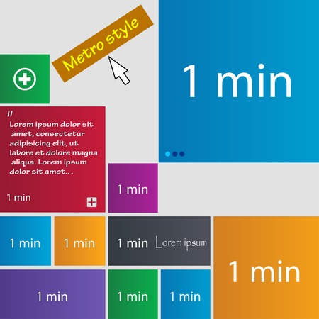 minutes: 1 minutes sign icon. Set of colored buttons. Vector illustration Illustration