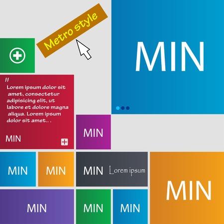 minimální: minimum ikonu znaménko. Sada barevných tlačítek. Vektorové ilustrace