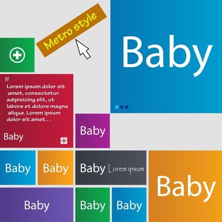 bebe a bordo: Beb� a bordo de signo icono. Infantil en s�mbolo de precauci�n coche. Pez�n chupete de beb�. Conjunto de botones de colores. Ilustraci�n vectorial