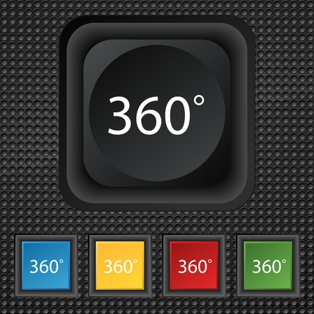 math icon: Angle 360 degrees sign icon. Geometry math symbol. Full rotation. Set of colored buttons. Vector illustration