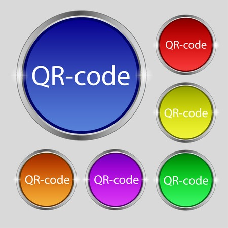 Qr code sign icon. Scan code symbol. Set of colored buttons. Vector illustration