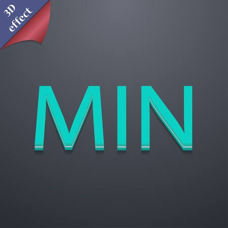 minimum icon symbol. 3D style. Trendy, modern design with space for your text Vector illustration