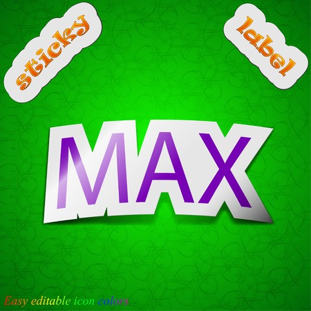 extremity: maximum icon sign. Symbol chic colored sticky label on green background. Vector illustration