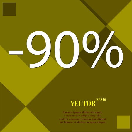 92: 90 percent discount icon symbol Flat modern web design with long shadow and space for your text. Vector illustration
