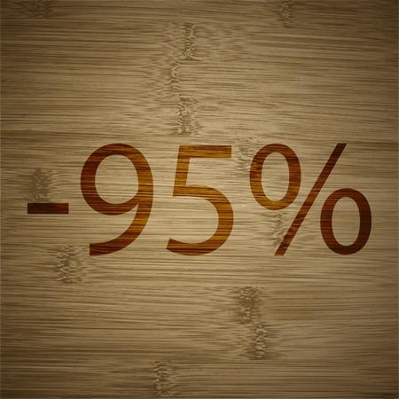 95: Il 95 per cento di sconto icona simbolo piatto moderno web design con una lunga ombra e lo spazio per il testo. Illustrazione vettoriale