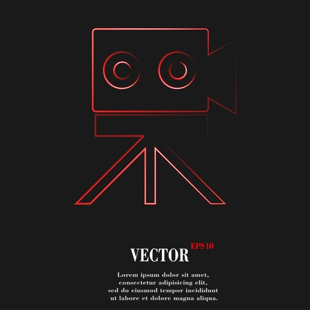 Video camera icon symbol Flat modern web design with long shadow and space for your text. Vector illustration Ilustração