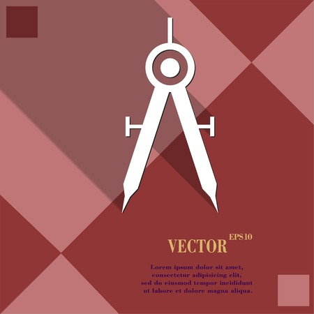Mathematical Compass icon symbol Flat modern web design with long shadow and space for your text. Vector illustration