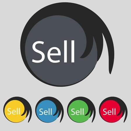 Sell sign icon. Contributor earnings button. Set of colored buttons. Vector illustration