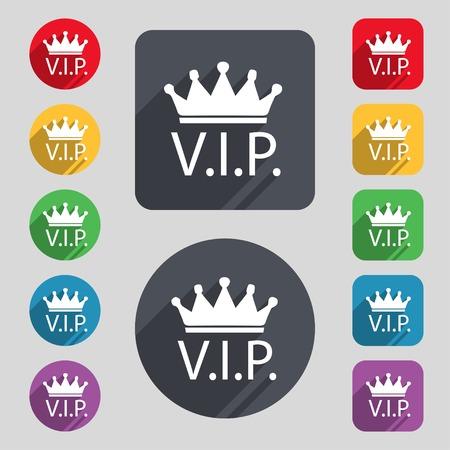 vip symbol: Icono de signo Vip. S�mbolo de miembro. Persona muy importante. Conjunto de botones de colores. Ilustraci�n vectorial Vectores
