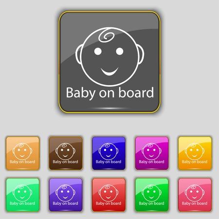 bebe a bordo: Beb� a bordo de signo icono. Infantil en s�mbolo de precauci�n coche. Conjunto de botones de colores. Ilustraci�n vectorial Vectores